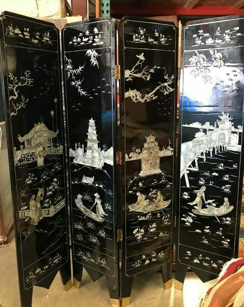 chinese oriental panel screen mother of pearl eBay
