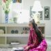 design books, leopard print wool carpet rug in home office