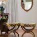 tiger print foot stool ottoman reupholstery vintage antique thrifting footstools DIY