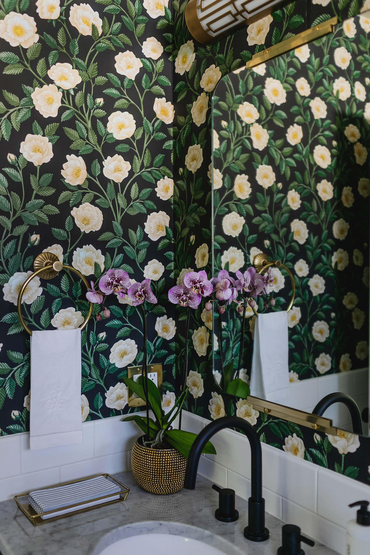 Cole and son Hampton roses wallpaper black colorway Phoenix arizona home garden influencer blogger Diana Elizabeth
