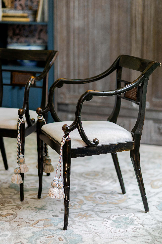 chair ties antique stre cotton blend fabric performance velvet Schumacher