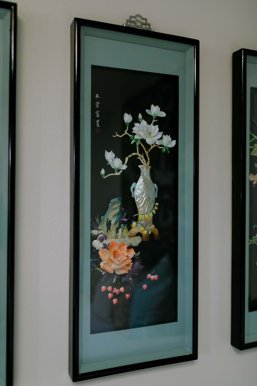 four set of panel oriental 3d floral screens