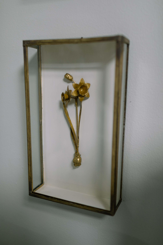 metal 3d flower on wall ballard designs brass gold floral
