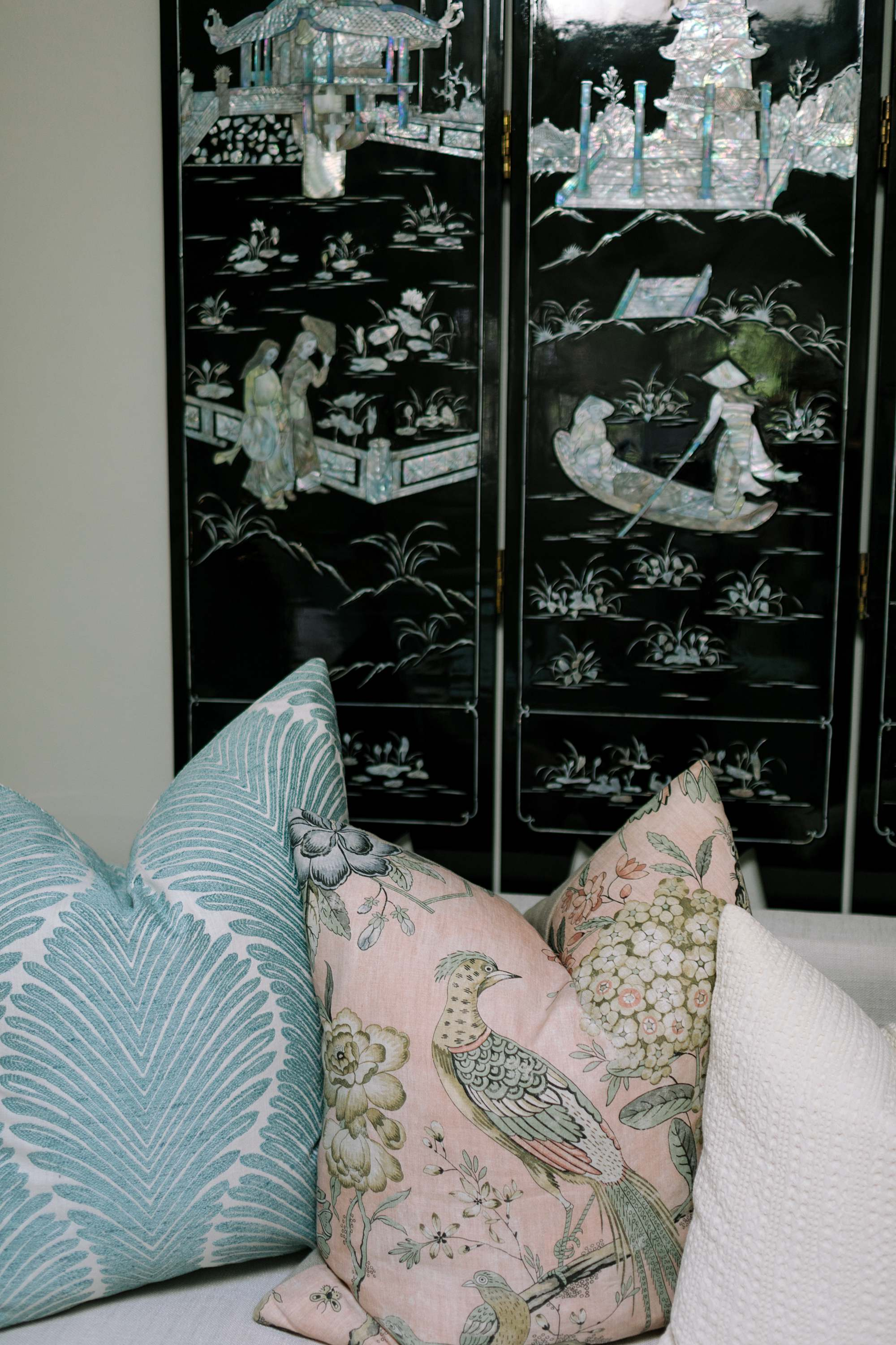 mother of pearl panel oriental panel screen - thibault print pillow