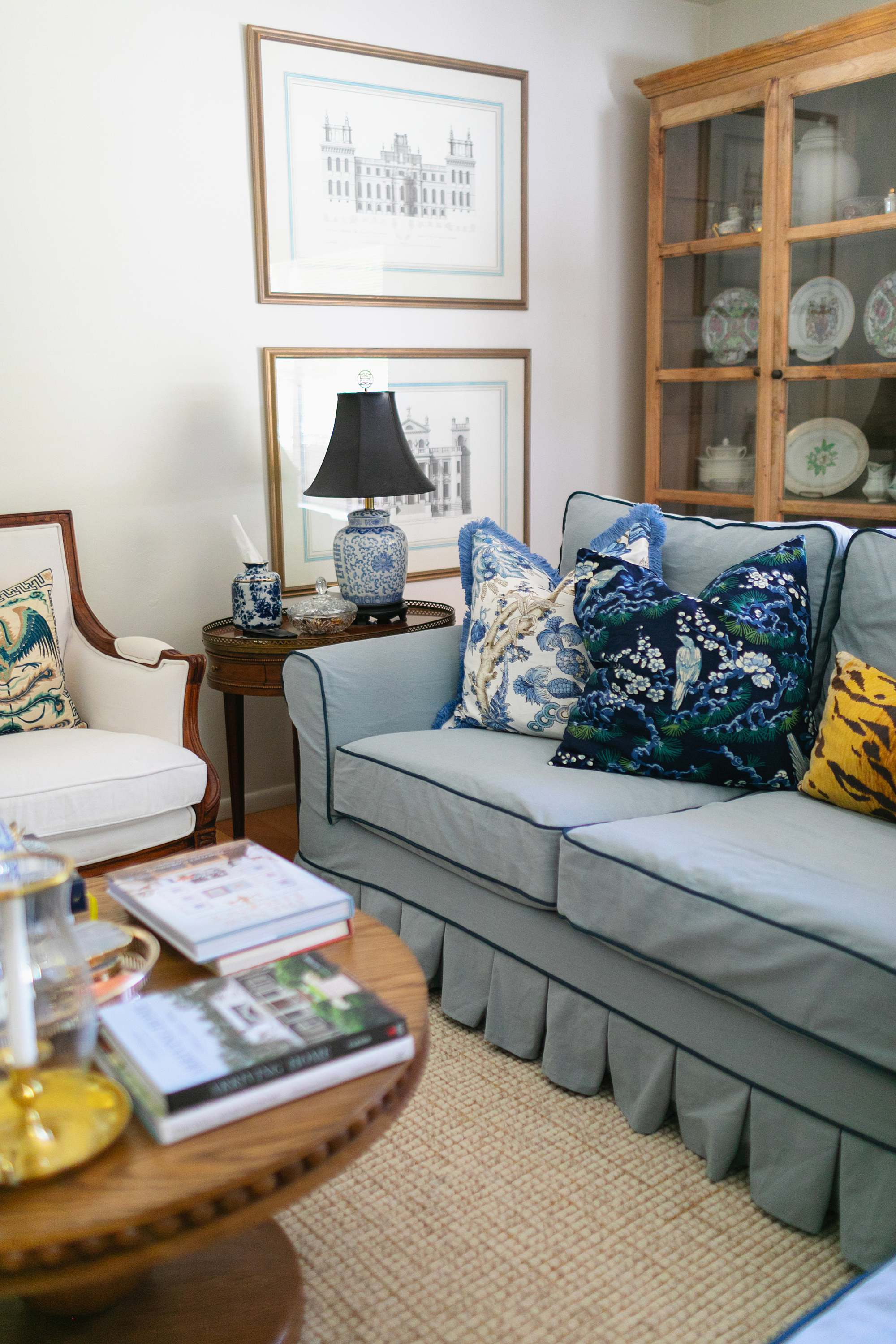 blue white couch Thibaut Chatelain print pillow