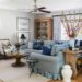 all American living room blue and white blue couch with contrast welt and pleated skirt grandmillennial traditional decoration living room