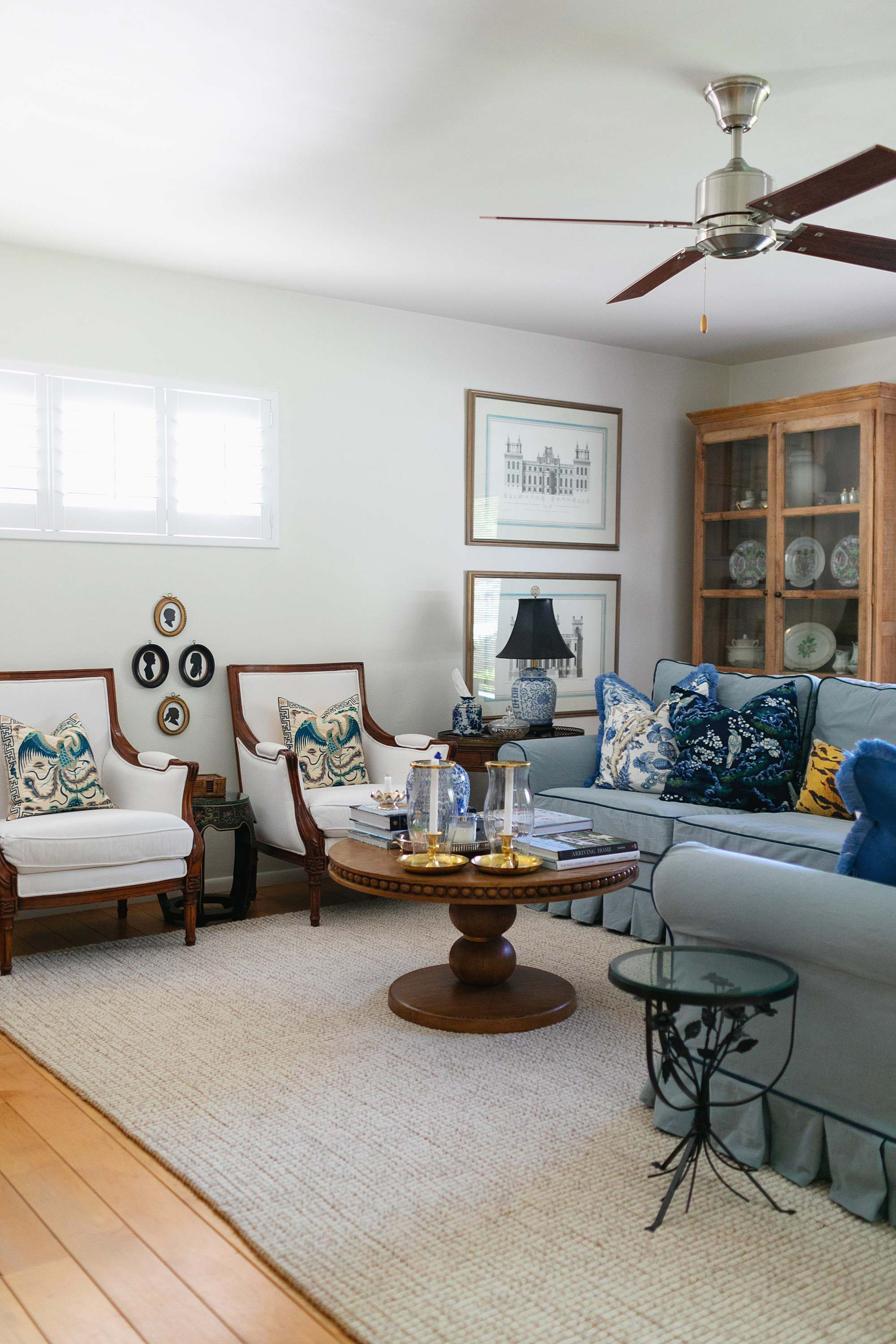 alabaster Sherwin-Williams paint blue and white living room blue couch pottery barn custom pleated skirt