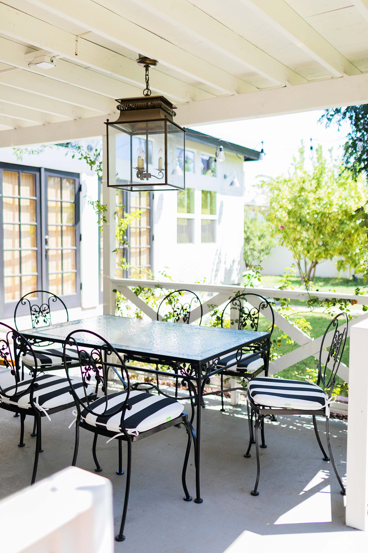 backyard patio phoenix arizona iron black and white mid century modern vintage table