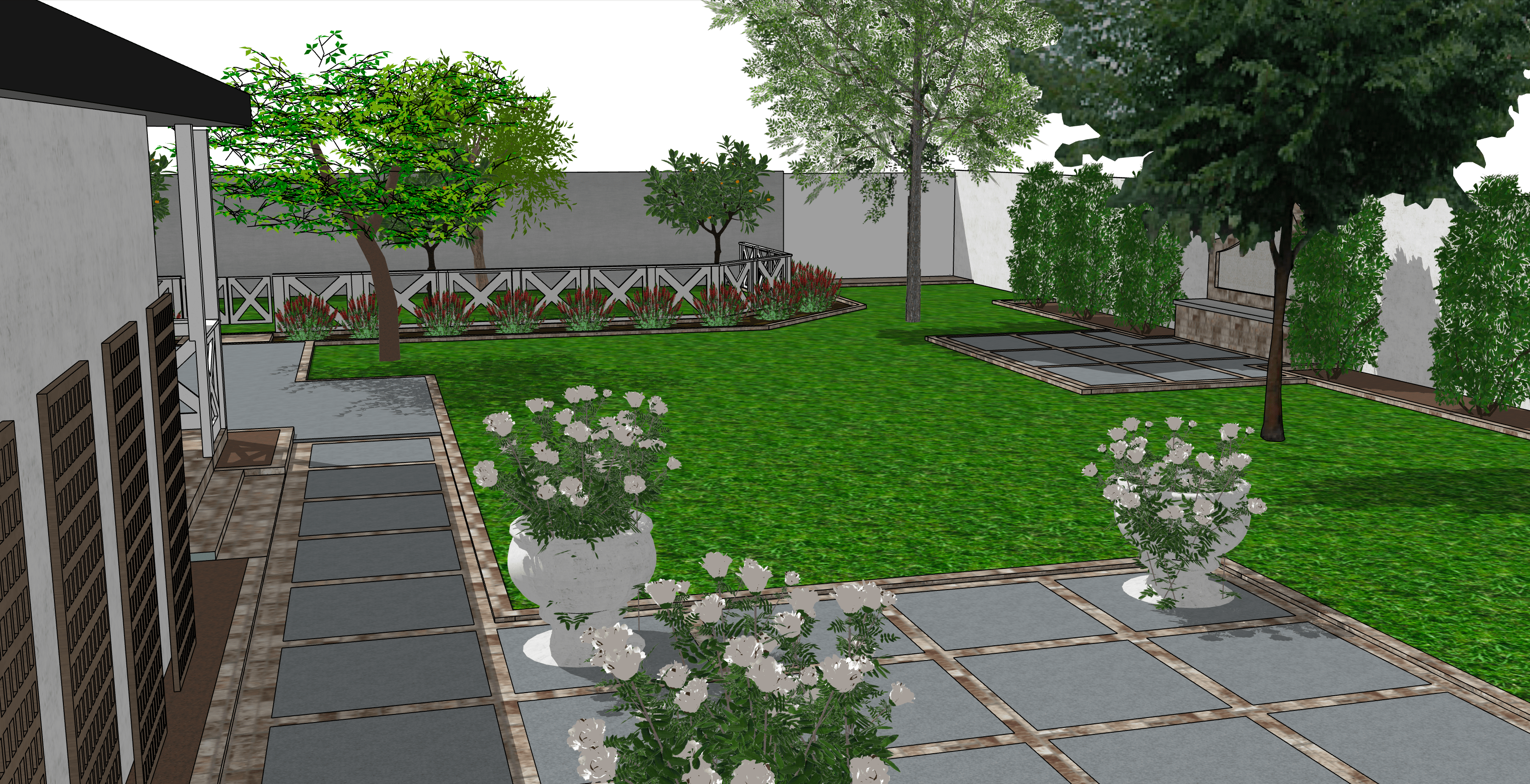 backyard English landscape render ideas