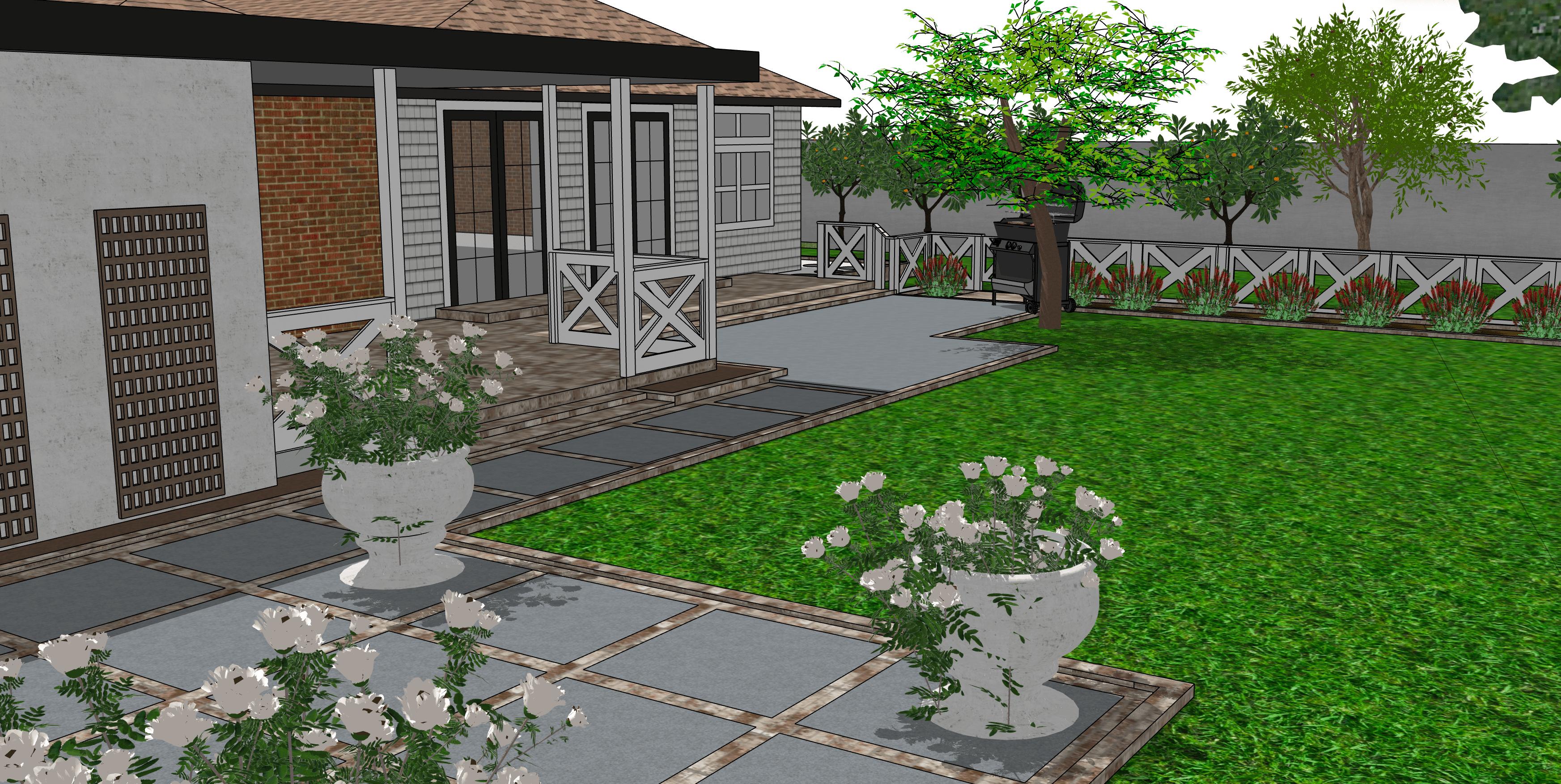 English garden black and white brick home landscape design ideas