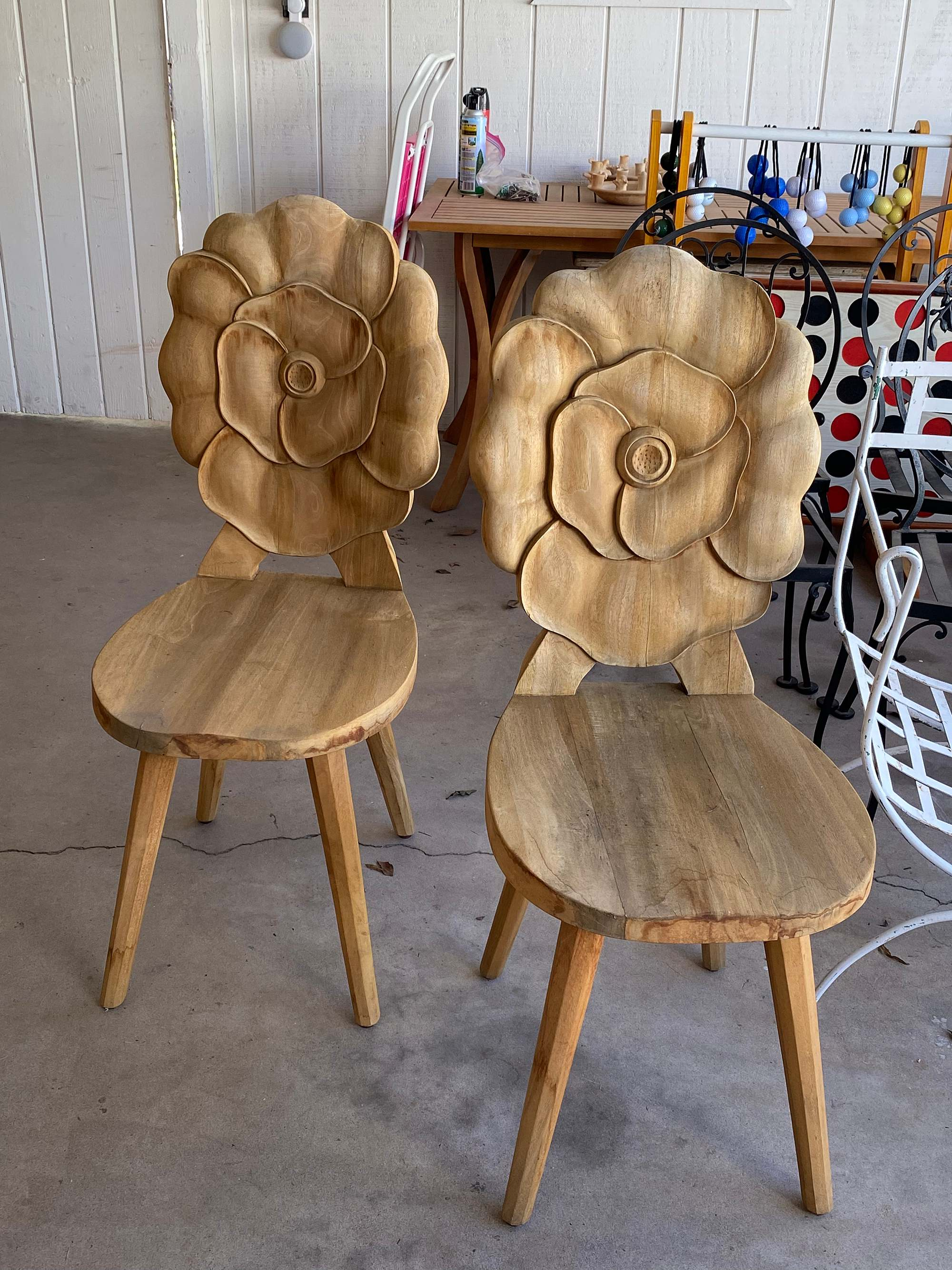 floral teakwood chairs for the garden