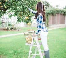 cloth and stone gingham button-back top anthropologie grapefruit picking fashion blogger phoenix lifestyle blogger hunter wedges wedge boots